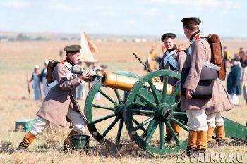 Historical reenactment of the Alma battle on Crimean War 1854. September 28, 2013 in Crimea, Ukraine.
